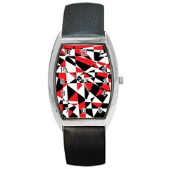 Shattered Life Tricolor Tonneau Leather Watch by StuffOrSomething