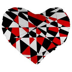 Shattered Life Tricolor Large 19  Premium Flano Heart Shape Cushion by StuffOrSomething