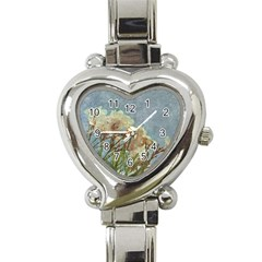 Floral Grunge Vintage Photo Heart Italian Charm Watch  by dflcprints