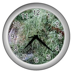 Rustic Grass Pattern Wall Clock (silver) by ansteybeta