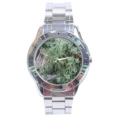 Rustic Grass Pattern Stainless Steel Watch by ansteybeta