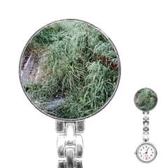 Rustic Grass Pattern Stainless Steel Nurses Watch by ansteybeta