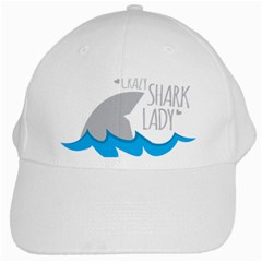 Crazy Shark Lady White Baseball Cap by CRAZYLADYSHIRTS