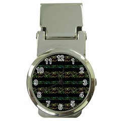 Modern Lace Stripe Pattern Money Clip with Watch by dflcprints