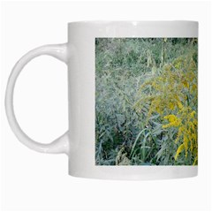 Yellow Flowers, Green Grass Nature Pattern White Coffee Mug by ansteybeta