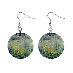 Yellow Flowers, Green Grass Nature Pattern Mini Button Earrings
