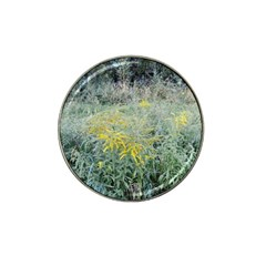 Yellow Flowers, Green Grass Nature Pattern Golf Ball Marker 4 Pack (for Hat Clip) by ansteybeta
