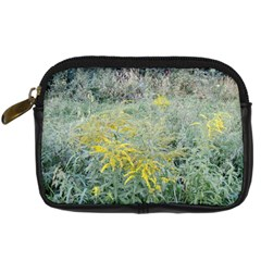 Yellow Flowers, Green Grass Nature Pattern Digital Camera Leather Case by ansteybeta