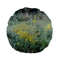 Yellow Flowers, Green Grass Nature Pattern Standard 15  Premium Round Cushion  by ansteybeta
