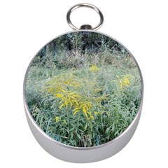 Yellow Flowers, Green Grass Nature Pattern Silver Compass by ansteybeta
