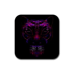 Creepy Cat Mask Portrait Print Drink Coasters 4 Pack (square) by dflcprints