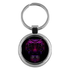 Creepy Cat Mask Portrait Print Key Chain (round) by dflcprints