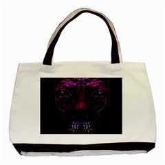 Creepy Cat Mask Portrait Print Twin Sided Black Tote Bag by dflcprints