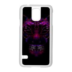 Creepy Cat Mask Portrait Print Samsung Galaxy S5 Case (White)