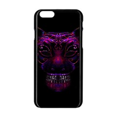 Creepy Cat Mask Portrait Print Apple Iphone 6 Black Enamel Case by dflcprints