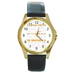 Howarts Letter Round Leather Watch (gold Rim)  by empyrie