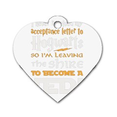 Howarts Letter Dog Tag Heart (one Sided)  by empyrie