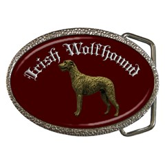 Old Gold Irish Wolfhound Belt Buckle (oval)   Red
