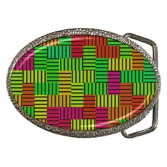Colorful Stripes And Squares Belt Buckle by LalyLauraFLM