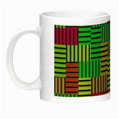 Colorful Stripes And Squares Night Luminous Mug by LalyLauraFLM
