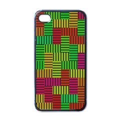 Colorful Stripes And Squares Apple Iphone 4 Case (black) by LalyLauraFLM