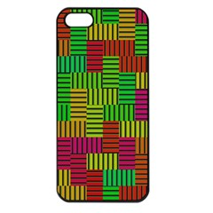 Colorful Stripes And Squares Apple Iphone 5 Seamless Case (black) by LalyLauraFLM