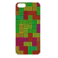 Colorful Stripes And Squares Apple Iphone 5 Seamless Case (white) by LalyLauraFLM