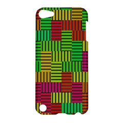 Colorful Stripes And Squares Apple Ipod Touch 5 Hardshell Case by LalyLauraFLM