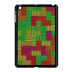 Colorful Stripes And Squares Apple Ipad Mini Case (black) by LalyLauraFLM