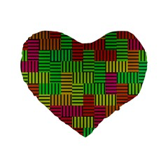 Colorful Stripes And Squares Standard 16  Premium Heart Shape Cushion  by LalyLauraFLM