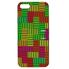 Colorful Stripes And Squares Apple Iphone 5 Hardshell Case With Stand by LalyLauraFLM