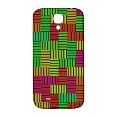 Colorful Stripes And Squares Samsung Galaxy S4 I9500/i9505  Hardshell Back Case by LalyLauraFLM