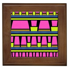 Trapeze And Stripes Framed Tile by LalyLauraFLM