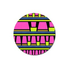 Trapeze And Stripes Magnet 3  (round) by LalyLauraFLM