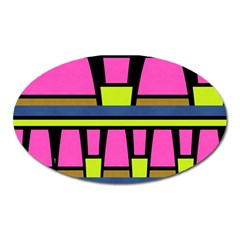 Trapeze And Stripes Magnet (oval) by LalyLauraFLM
