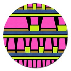 Trapeze And Stripes Magnet 5  (round) by LalyLauraFLM