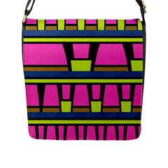 Trapeze And Stripes Flap Closure Messenger Bag (l) by LalyLauraFLM