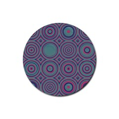 Concentric Circles Pattern Rubber Round Coaster (4 Pack) by LalyLauraFLM