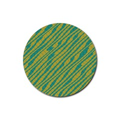 Blue Yellow Waves Rubber Round Coaster (4 Pack) by LalyLauraFLM