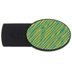 Blue Yellow Waves Usb Flash Drive Oval (2 Gb) by LalyLauraFLM