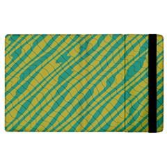 Blue Yellow Waves Apple Ipad 2 Flip Case by LalyLauraFLM