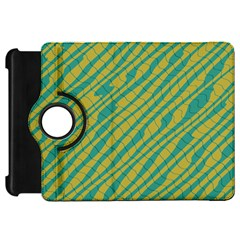 Blue Yellow Waves Kindle Fire Hd Flip 360 Case by LalyLauraFLM