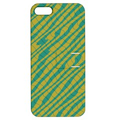 Blue Yellow Waves Apple Iphone 5 Hardshell Case With Stand by LalyLauraFLM