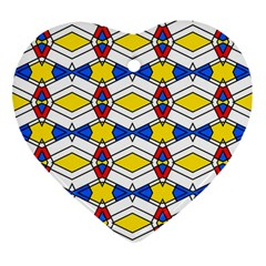 Colorful Rhombus Chains Ornament (heart) by LalyLauraFLM
