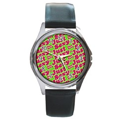 Just Sexy Quote Typographic Pattern Round Metal Watches by dflcprints