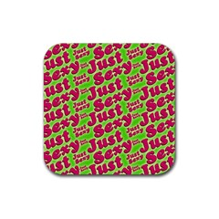 Just Sexy Quote Typographic Pattern Rubber Coaster (square)  by dflcprints