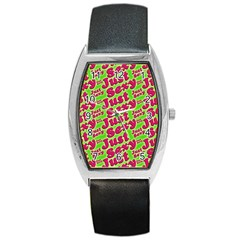 Just Sexy Quote Typographic Pattern Barrel Metal Watches by dflcprints