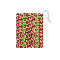 Just Sexy Quote Typographic Pattern Drawstring Pouches (small)  by dflcprints