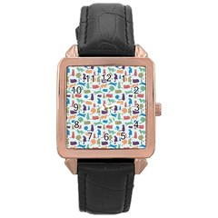 Blue Colorful Cats Silhouettes Pattern Rose Gold Watches by Contest580383