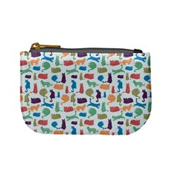 Blue Colorful Cats Silhouettes Pattern Mini Coin Purses by Contest580383